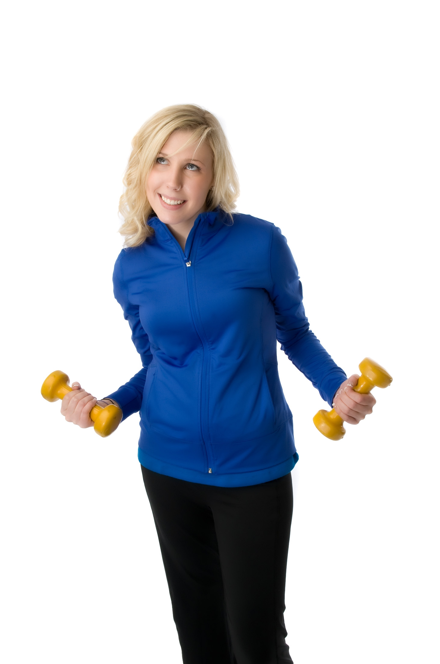 Young woman works out with small weights.