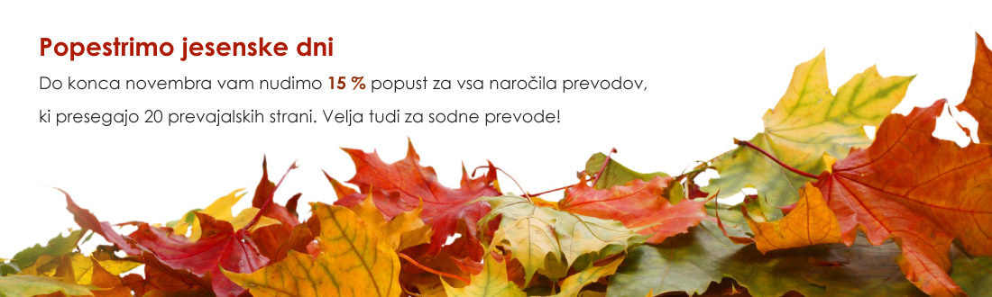 popust prevajanje jesen